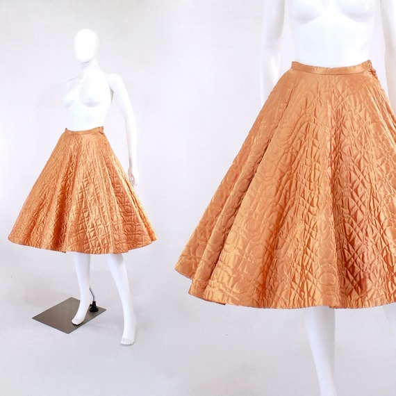 1950s Quilted Apricot Satin Skirt - 1950s Quilted