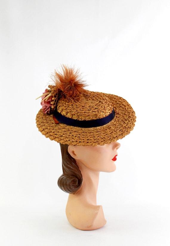 RESERVED | 1940s  Straw Tilt Hat - 1940s Autumn T… - image 4