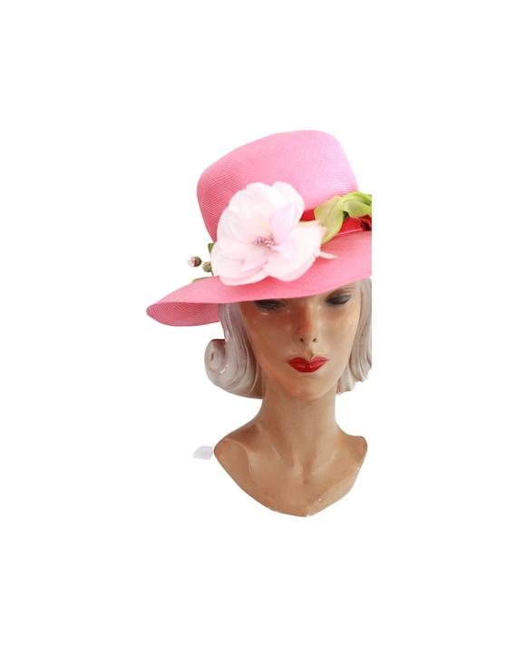 1960s Pink Straw Sun Hat - Vintage Pink Sun Hat -… - image 2