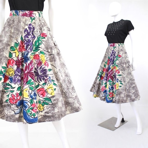 1950s Hand Painted Floral Skirt - 1950s Hand Paint