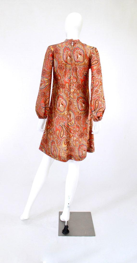 1960s Orange Paisley Print Dress - 1960s Orange D… - image 2