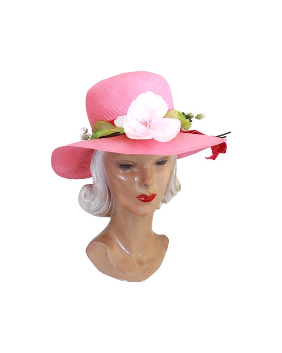 1960s Pink Straw Sun Hat - Vintage Pink Sun Hat -… - image 3