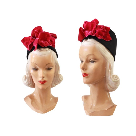 1940s Turban Hat - 1940s Fez Hat - 1940s Pink Hat