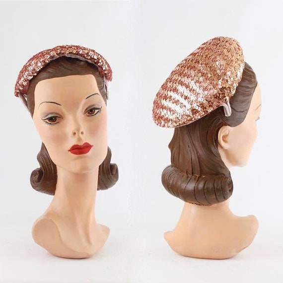 1950s Cocktail Hat - 1950s Pink Cocktail Hat - Seq