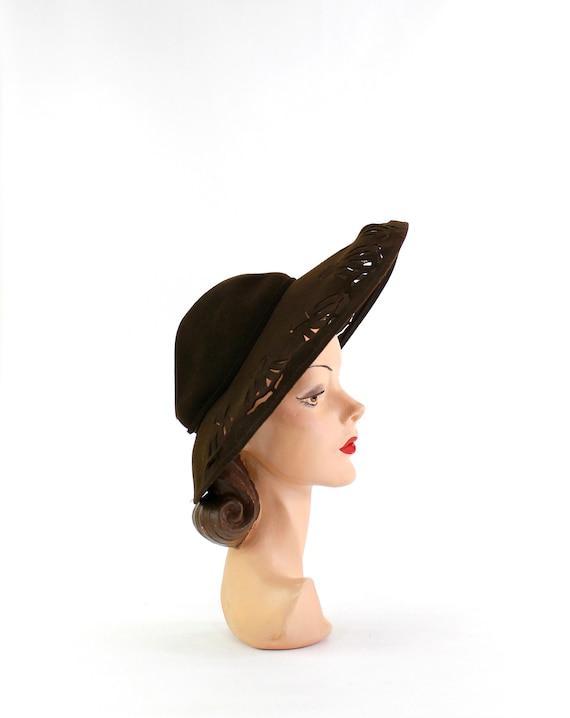 RESERVED | 1940s Dark Brown Open Crown Cutaway Pl… - image 5
