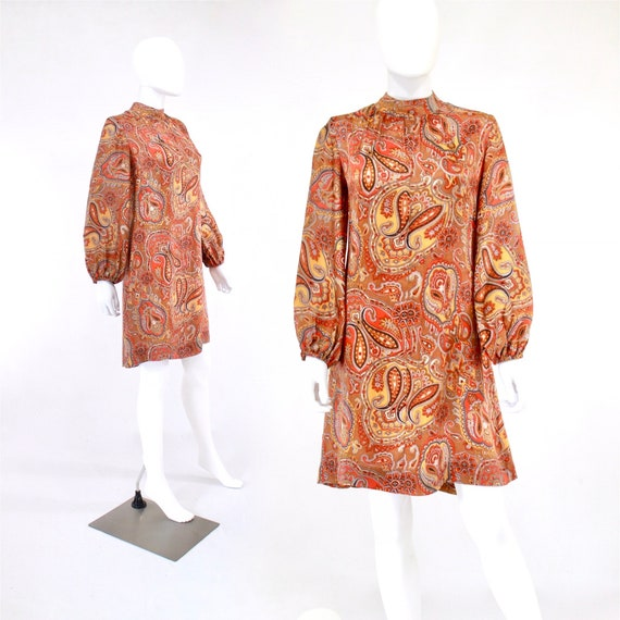1960s Orange Paisley Print Dress - 1960s Orange Dr