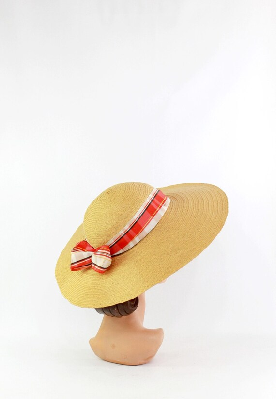 1940s Natural Straw - 1940s Cartwheel Sun Hat - 1… - image 7