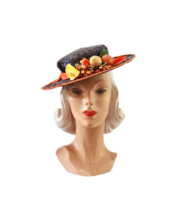 1940s Autumn Boater Hat - 1940s Navy Blue Hat - 1… - image 2