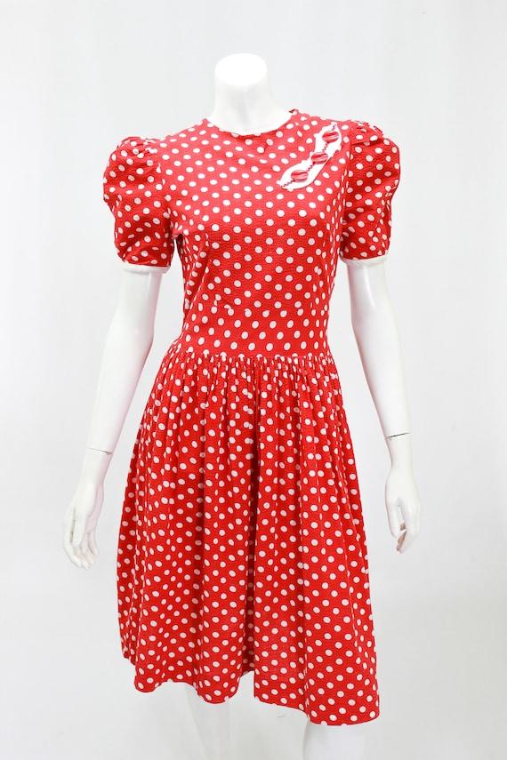 1930s Polka Dot Dress - 1930s Puff Sleeve Dress -… - image 3