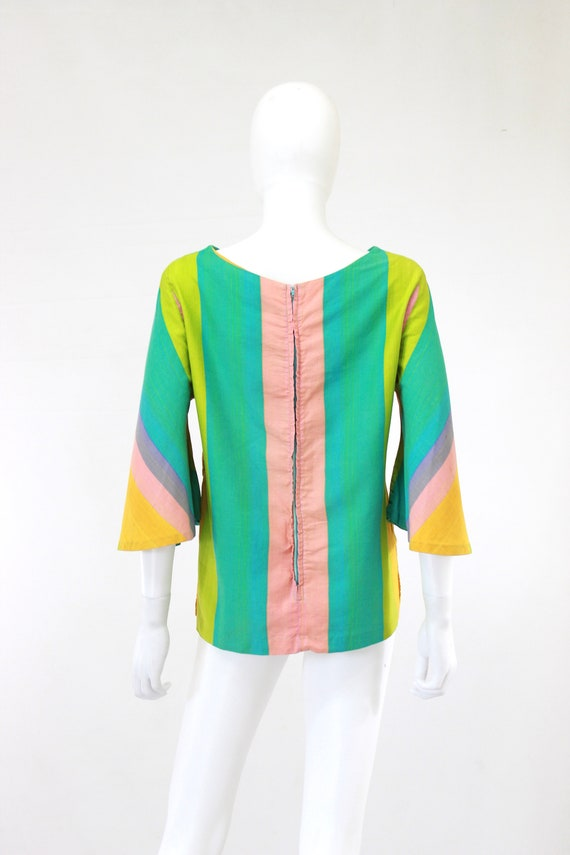 1960s Rainbow Tunic Blouse - 1960s Angel Sleeves … - image 10