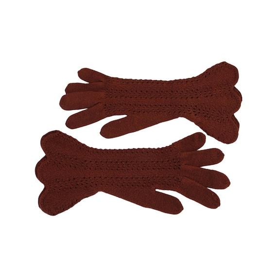 1930s Brown Crocheted Gauntlet Gloves - 1930s Cro… - image 2