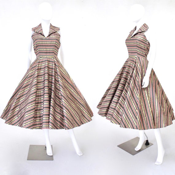 1950s Gold Sun Dress - 1950s Halter Dress - 1950s