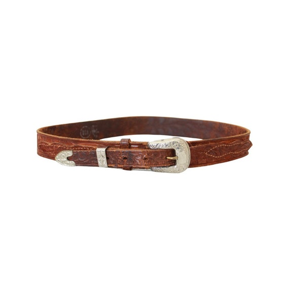 1940s/50s Tooled Leather Belt - 1950s Leather Bel… - image 4