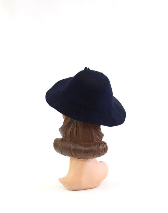1940s Navy Blue Bonnet Fedora - 1940s Navy Blue F… - image 6