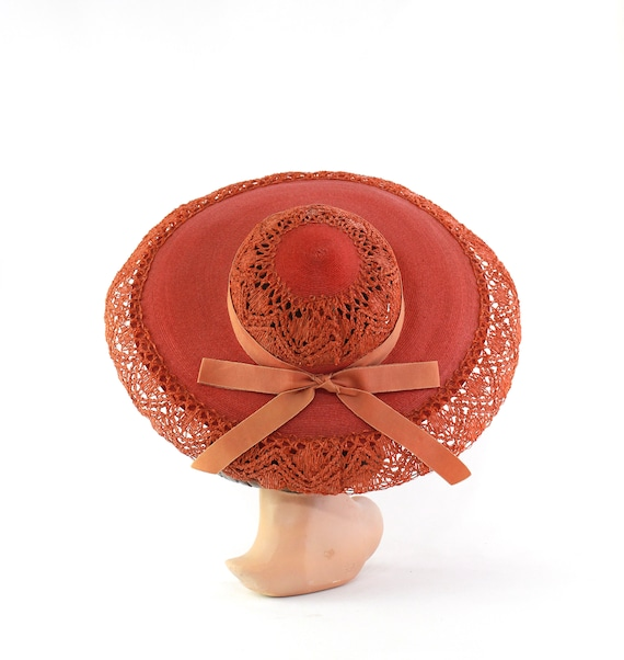 RESERVED | 1940s Red Platter Sun Hat - 1940s Orang