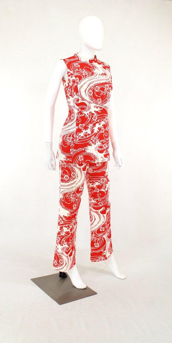 1960s Wave Novelty Print Pant Suit - 1960s Honeym… - image 6