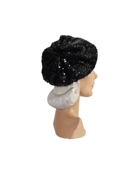 1970s Sequin Slouch Beret - 1970s Black Sequin Be… - image 6