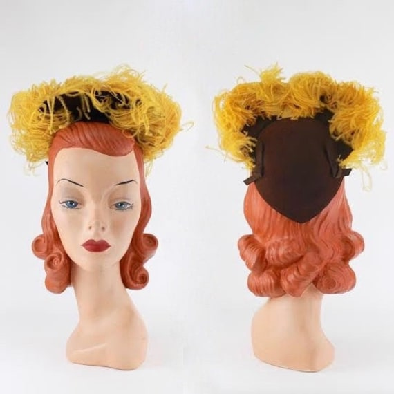 RESERVED | 1940s Halo Hat - 1940s Feather Hat - 19