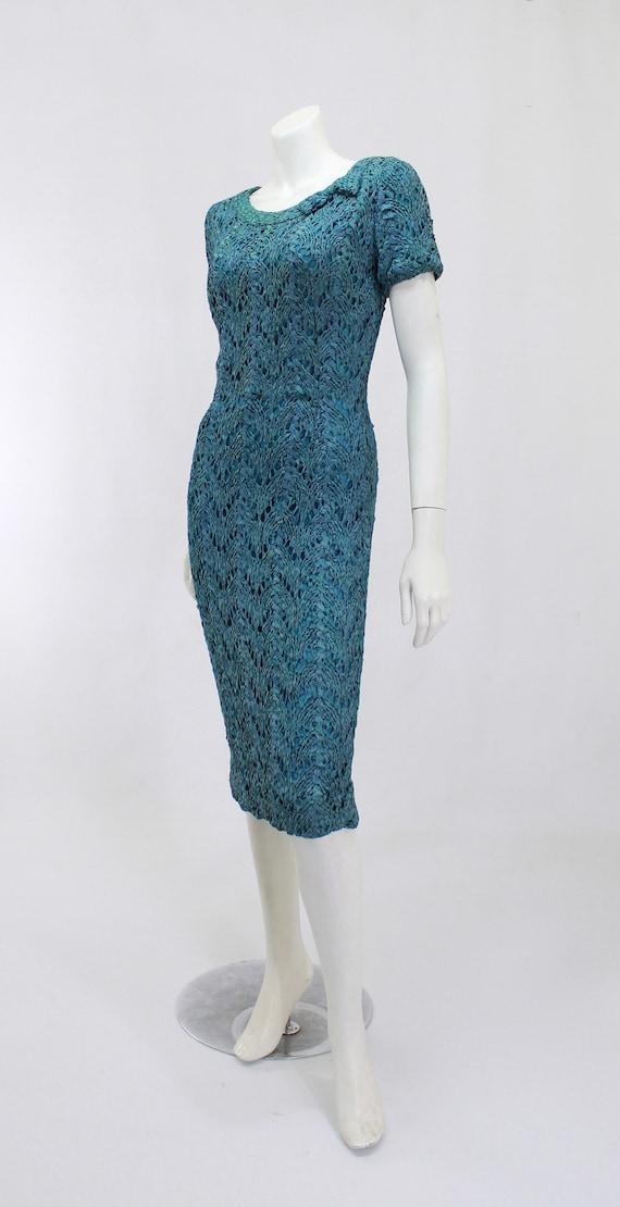 1950s Wiggle Dress - 1950s Teal Dress - 1950s Rib… - image 3