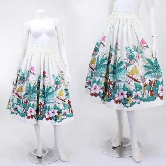 1950s Novelty Print Skirt - Island Novelty Print -