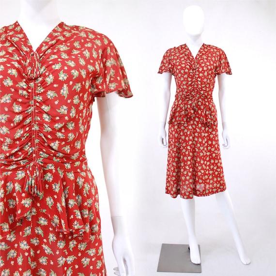 Late 1930s Shoe Novelty Print Dress - 1930s Shoe P
