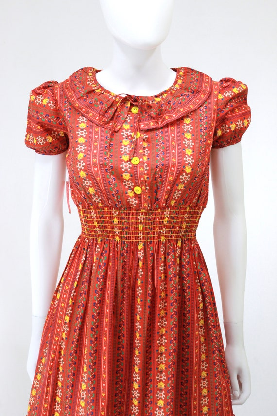 DEADSTOCK 1940s Puff Sleeve Dress - 40s Cotton Dr… - image 3