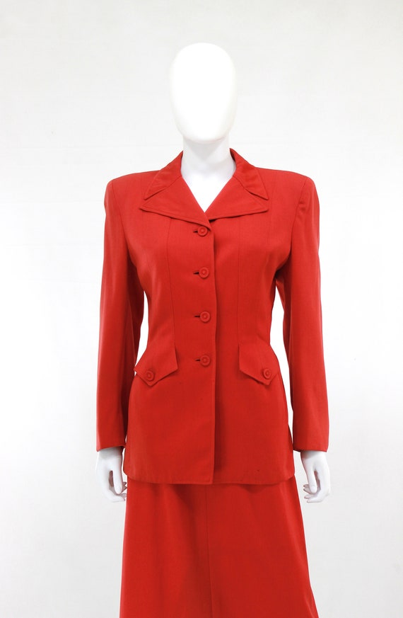 1940s True Red Wool Gab Suit - 1940s Red Suit - 1… - image 8