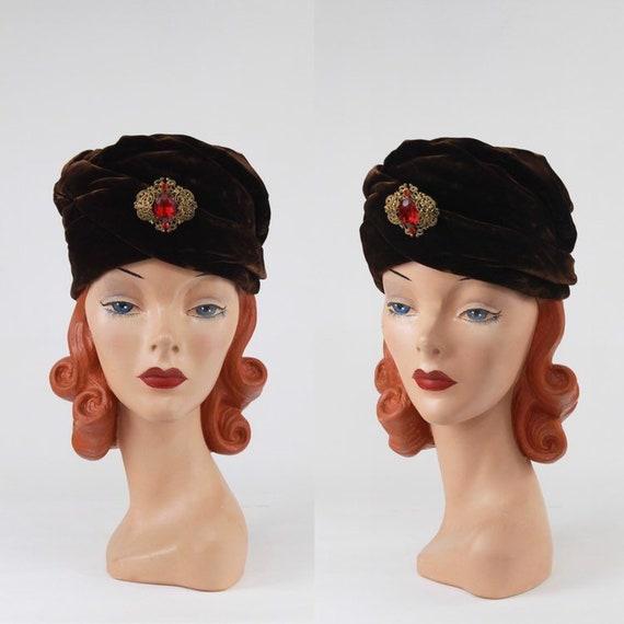 1950s Turban - Vintage Velvet Turban - Vintage Bro