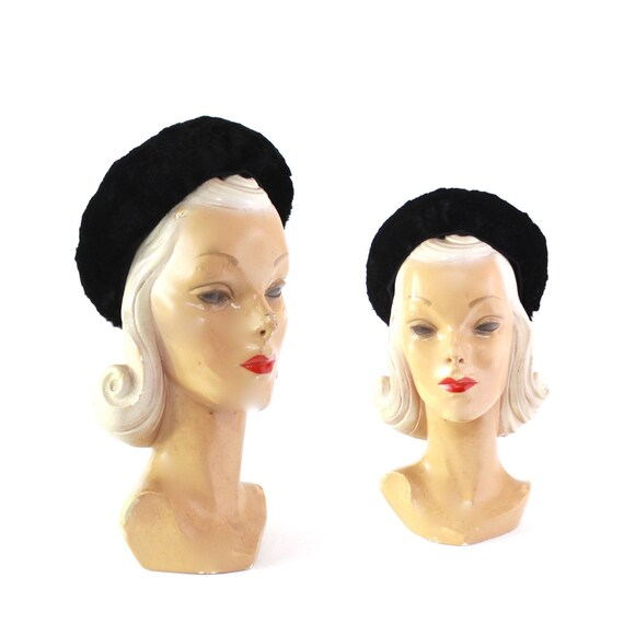 1950s Black Rabbit Fur Winter Hat - 1950s Rabbit F