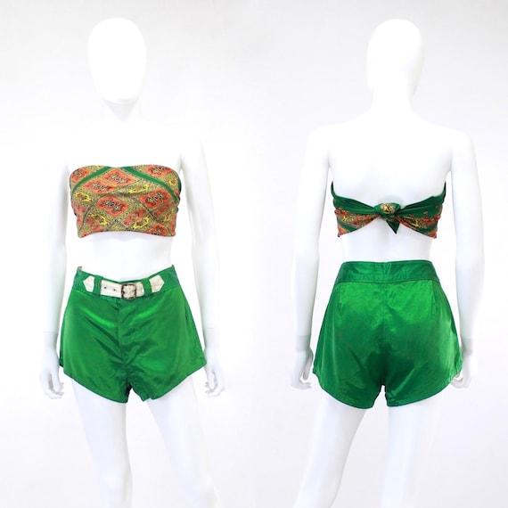 1940s Satin Shorts - 1940s Green Satin Shorts - 1… - image 5