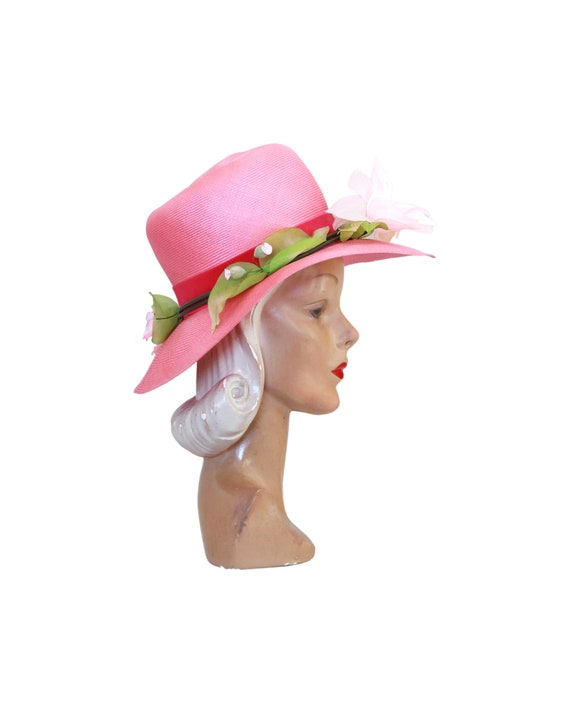 1960s Pink Straw Sun Hat - Vintage Pink Sun Hat -… - image 4
