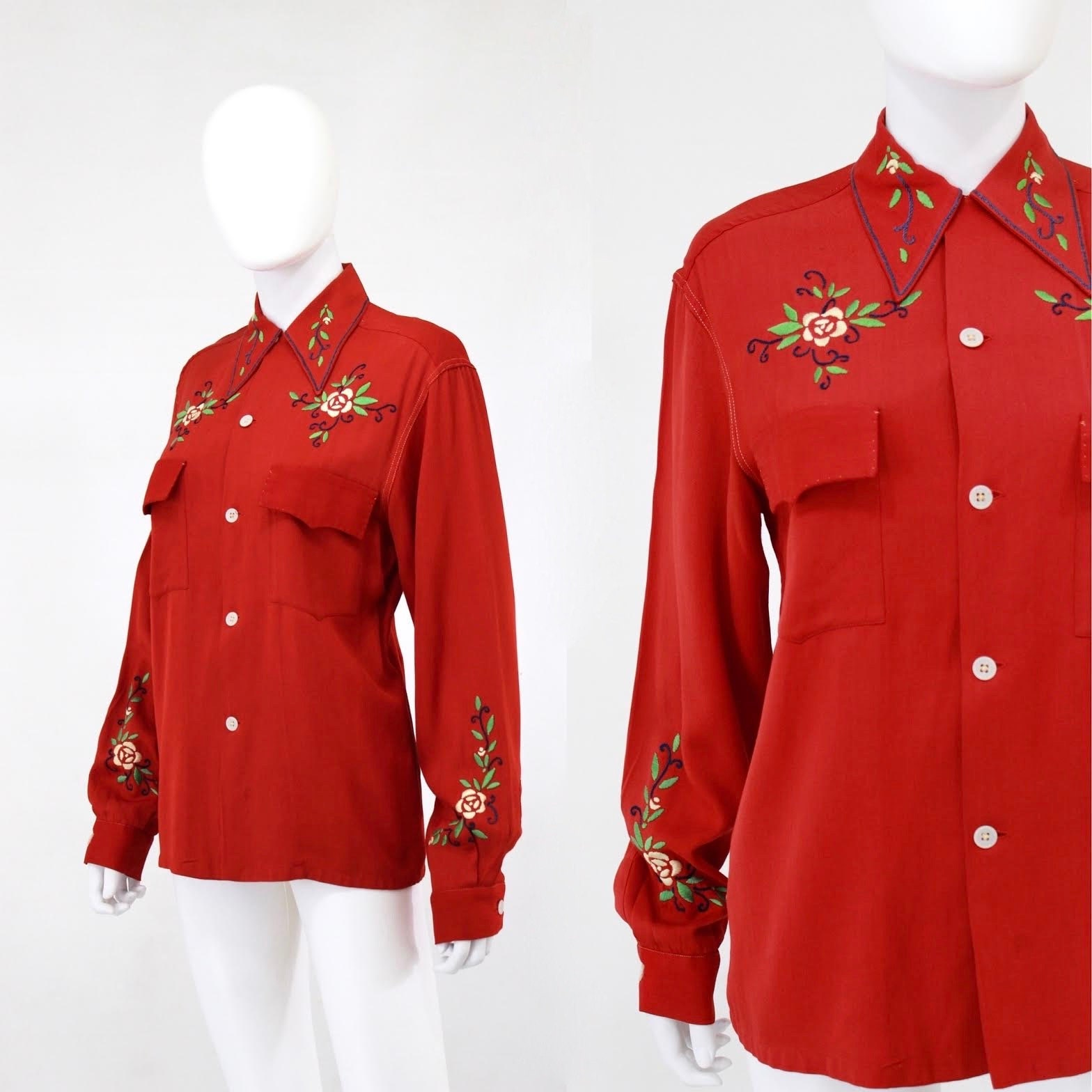 1940s Men's Shirts, Sweaters, Vests 1940S Holiday Red Embroidered Western Blouse - Gabardine Button Down 40S Gab  Size Large WomensMed Mens $30.00 AT vintagedancer.com