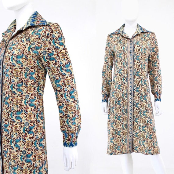 1970s Batik Print Shirtwaist Day Dress - 1970s Exo