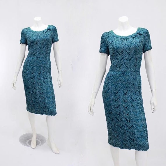 1950s Wiggle Dress - 1950s Teal Dress - 1950s Ribb