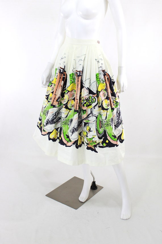 1950s Feast Novelty Print Skirt - 1950s Italian F… - image 4