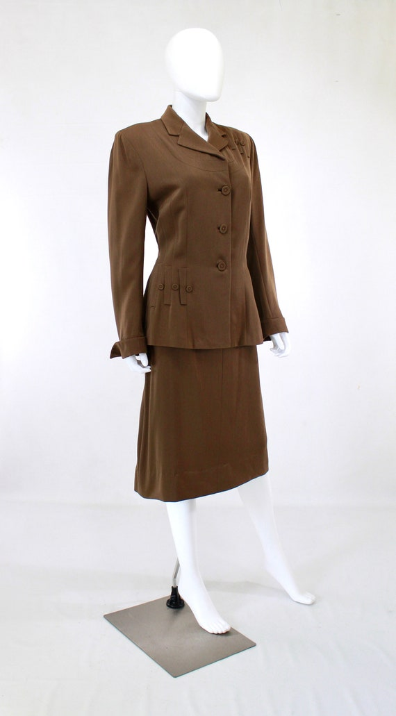 RESERVED | 1940s Womens Brown Suit - 1940s Brown … - image 4