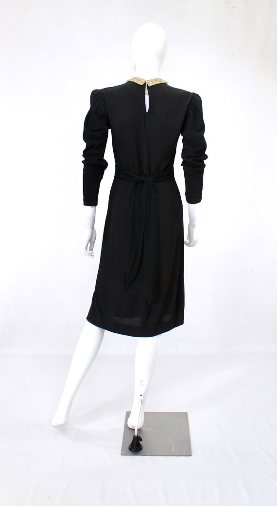 Late 1930s Black Crepe Dress with Pearl Collar - … - image 10