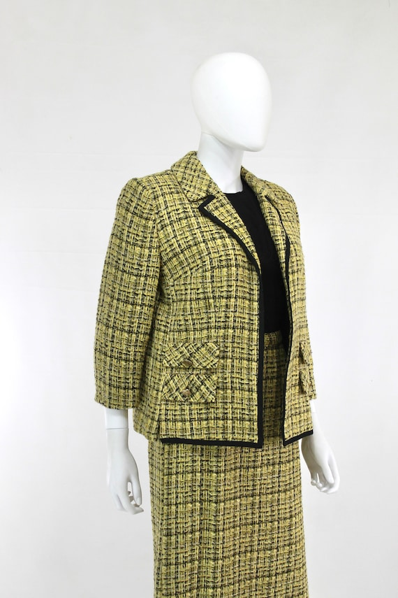 1960s Chartreuse Wool Suit - 1960s Chartreuse Sui… - image 6