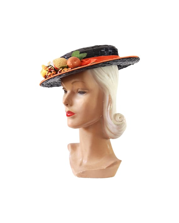1940s Autumn Boater Hat - 1940s Navy Blue Hat - 1… - image 4
