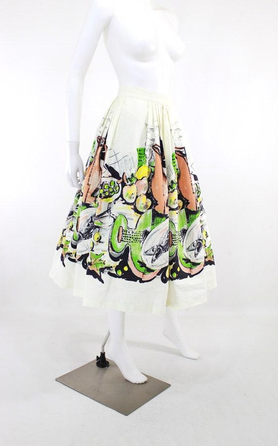1950s Feast Novelty Print Skirt - 1950s Italian F… - image 3