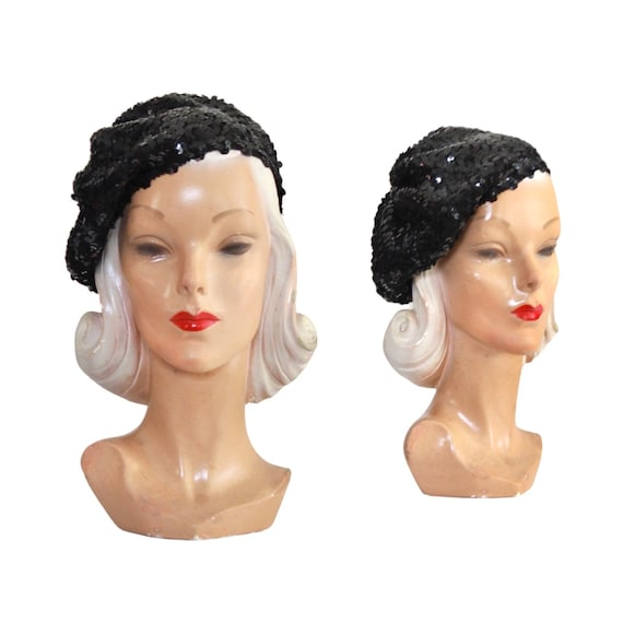 1970s Sequin Slouch Beret - 1970s Black Sequin Be… - image 1