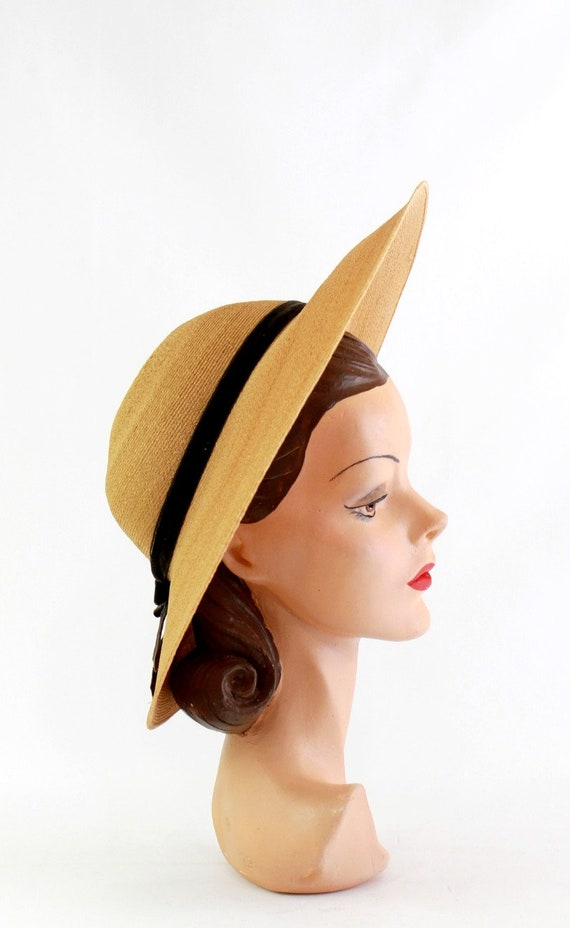 1940s Natural Straw Platter Sun Hat - 1940s Straw… - image 5