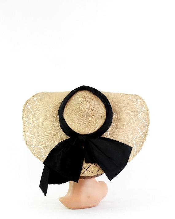 1940s Natural Straw Hat - 1940s Wide Brim Straw Ha