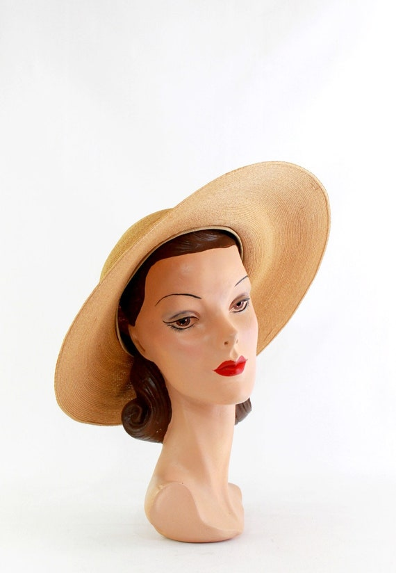 1940s Natural Straw Platter Sun Hat - 1940s Straw… - image 4