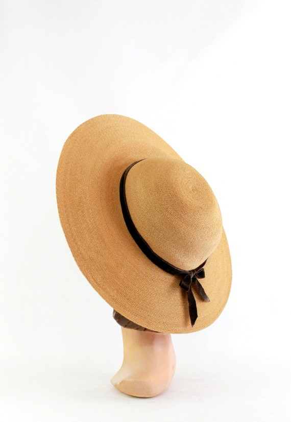 1940s Natural Straw Platter Sun Hat - 1940s Straw… - image 7