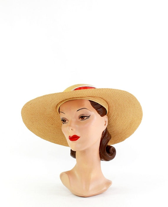 1940s Natural Straw - 1940s Cartwheel Sun Hat - 1… - image 3