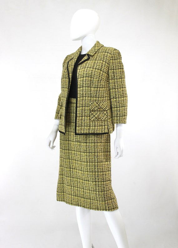 1960s Chartreuse Wool Suit - 1960s Chartreuse Sui… - image 7