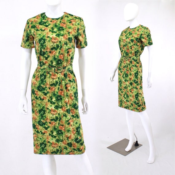 Early 1960s Green & Orange Abstract Floral Wiggle