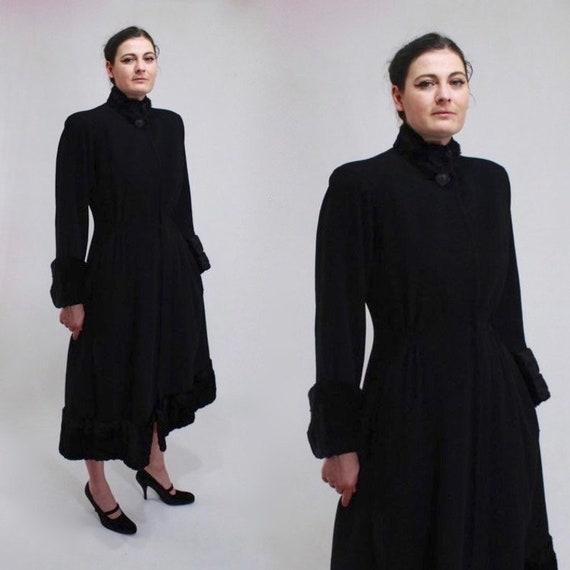 1940s Princess Coat - 40s Forstmann Inky Black Woo