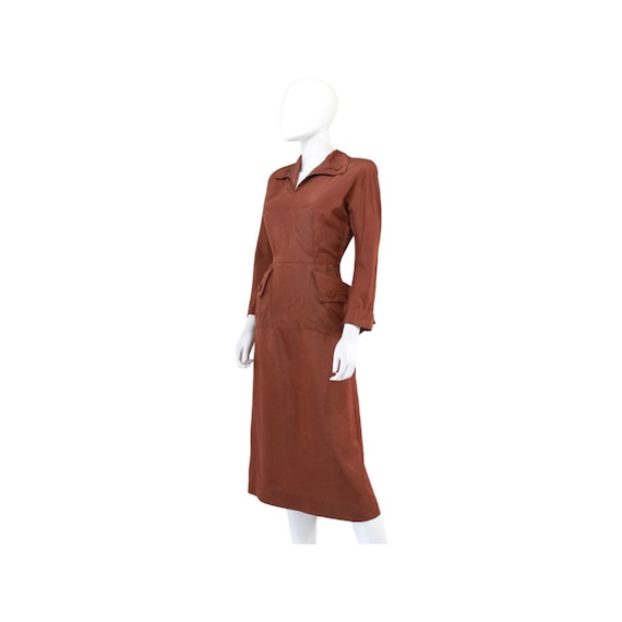1940s Chestnut Brown Day Dress - 1940s Brown Dres… - image 7